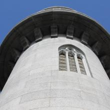 The Washington Tower is a granite structure on top of the highest point within spacious Mount Auburn Cemetery near the Watertown-Cambridge municipal line.