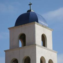 Bell tower of the historic Immaculate Conception Church in Old Town San Diego